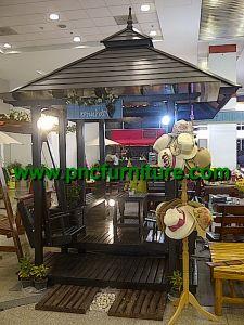 ซุ้มศาลาไม้สัก รุ่นเดอะแกรนด์ ไม้ระแนง ชุดที่นั่งชิงช้า  3 x 2 เมตร