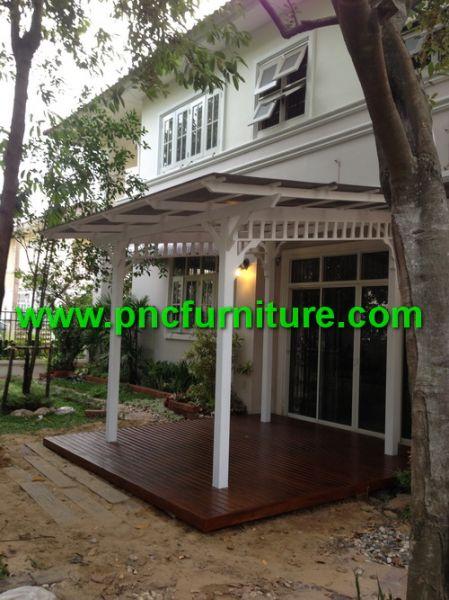 งานพื้นระเบียงไม้สัก ระแนงไม้พื้น ระเบียงหน้าบ้าน ระเบียงข้างบ้าน ต่อเติมพื้นที่นั่งเล่นในบ้าน