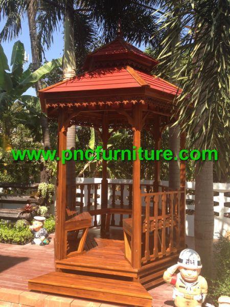ศาลาไม้สัก ศาลาไม้ทรงหกเหลี่ยม รุ่นเลคไซด์ ศาลาแต่งสวน ขนาดฐาน 2 เมตร