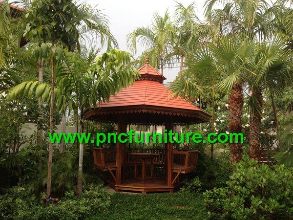 ศาลานั่งเล่น ศาลาไม้สัก ศาลาแปดเหลี่ยม ศาลาพักผ่อนในสวนหย่อม ศาลาหน้าบ้าน