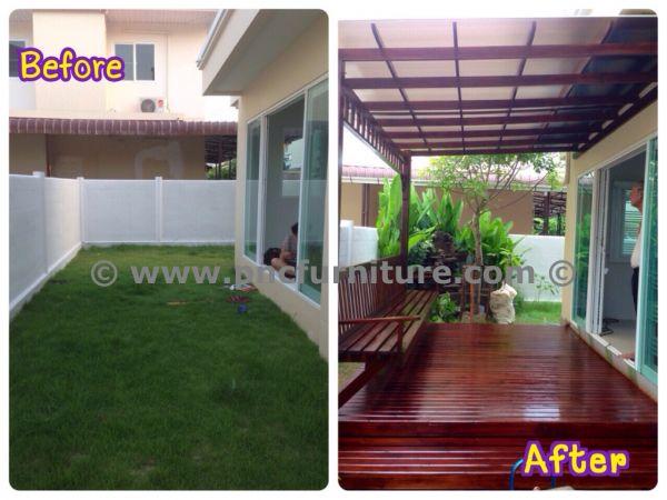 ต่อเติมไม้ระแนงด้านข้างของบ้าน ต่อเติมพื้นที่ข้างบ้าน แบบตัวอย่างไม้ระแนงหน้าบ้าน