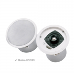 "EV,Electro-Voice evid C4.2  4""  coaxial 2way speaker with horn loaded Ti coated tweeter-complete with back can enclosure , tile rails , and mounting ring –for 70v/100v  or  8 omh. Operation."