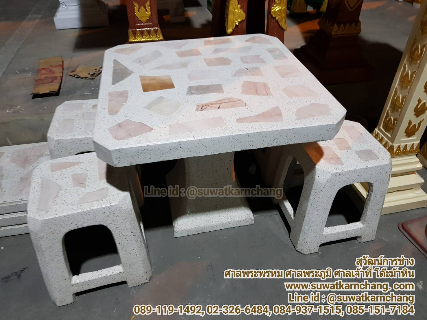 โต๊ะสี่เหลี่ยมทรงพลาสติก หินอ่อน หน้า 80 ซม.