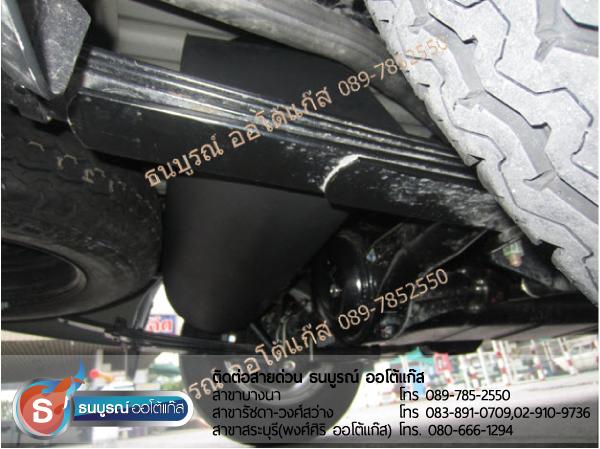 ตำแหน่งติดตั้งถังแคปซูลใต้ท้อง ถังแก๊สใต้ท้อง Mitsubishi Triton 2400cc. ป้ายแดง กับชุด Fast-Tech Premium ของ ENERGY-REFORM ติดถัง 48 ลิตรใต้ท้อง ยางอะไหล่ยังอยู่ โดยธนบูรณ์ ออโต้แก๊ส