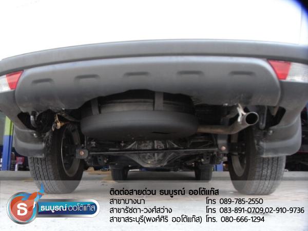 ตำแหน่งการติดตั้งถังแก๊สโดนัทใต้ท้องรถ Mitsubishi Pajero Sport 2400 cc. ป้ายแดง กับชุด Advanced-OBD 4 สูบ ของ ENERGY-REFORM พร้อมถังโดนัท  51  ลิตร ใต้ท้องรถ โดยธนบูรณ์ ออโต้แก๊ส