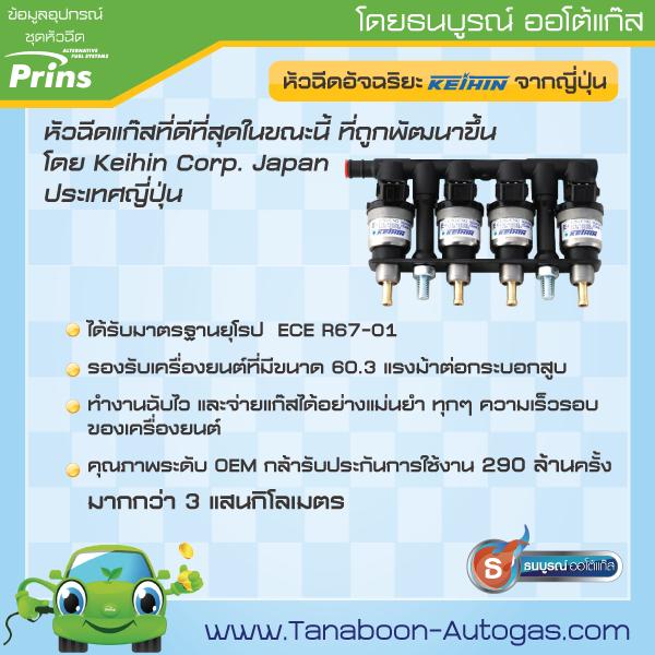 KEIHIN รางหัวฉีดแก๊สที่ดีที่สุดในขณะนี้ ที่พัฒนาโดย KEIHIN CORP Japan ประเทศญี่ปุ่น หัวฉีดมาตรฐานยุโรป รองรับเครื่องยนต์ที่มีขนาด 60.3 แรงม้าต่อกระบอกสูบ ทำงานฉับไว จ่ายแก๊สได้แม่นยำทุกๆ ความเร็วรอบของเครื่องยนต์