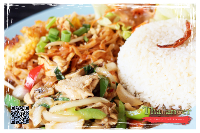 Thailander Phad Thai Tofu, Spicy Basil with Chicken, Thai Smile Salad and Steamed Rice