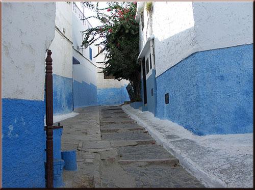 บ้านฟ้า - ขาว ในป้อม อูไดยะ ตั้งอยู่ที่เมืองราบัต เมืองหลวงของประเทศโมรอคโค