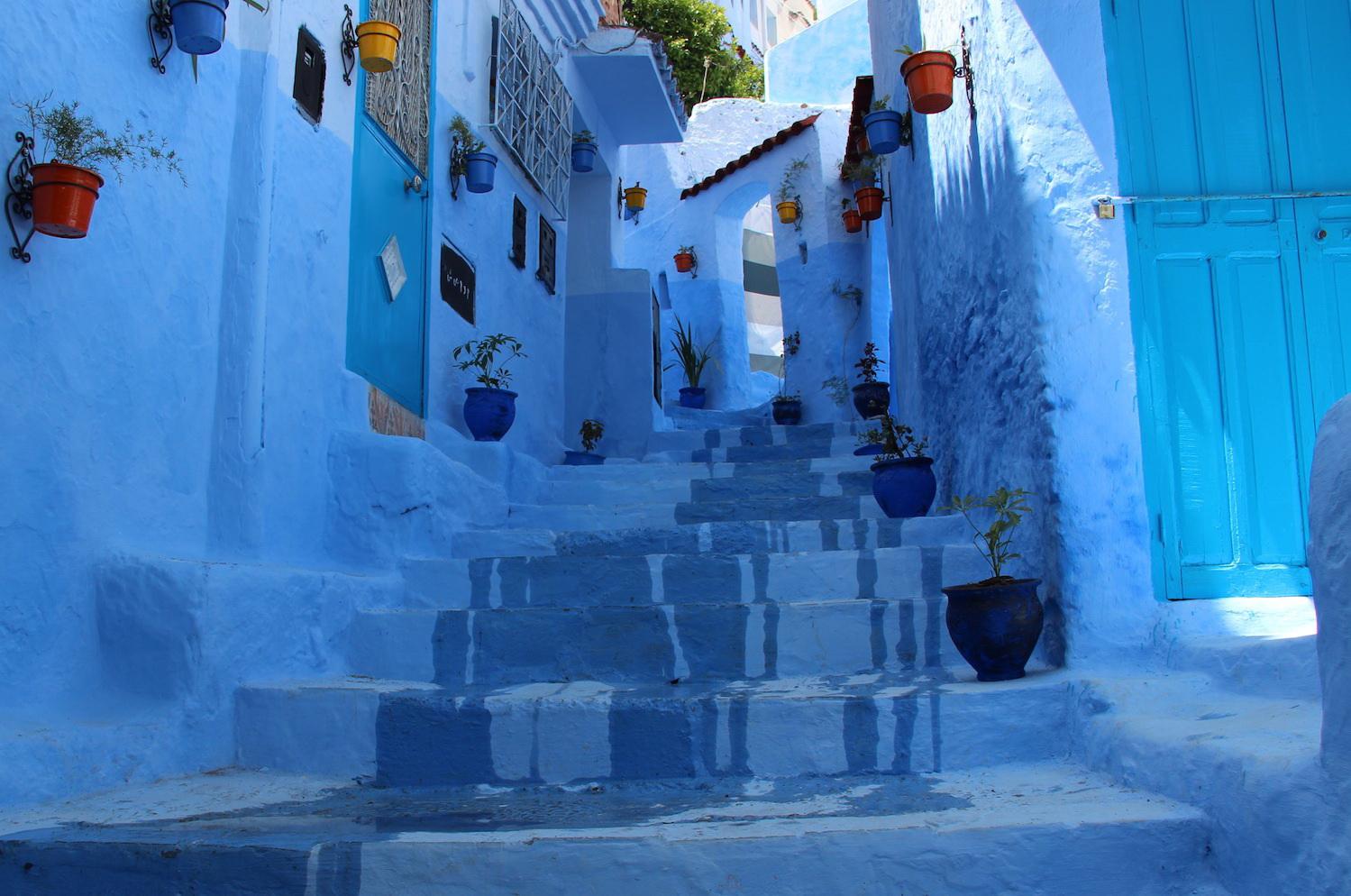 ทางเดินในนครสีฟ้า เชฟชาอูน แห่งโมรอคโค