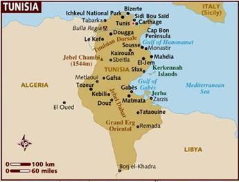 คลิกที่ภาพเพื่อแผนที่ดาวเทียม Google Earth ของประเทศตูนีเซีย