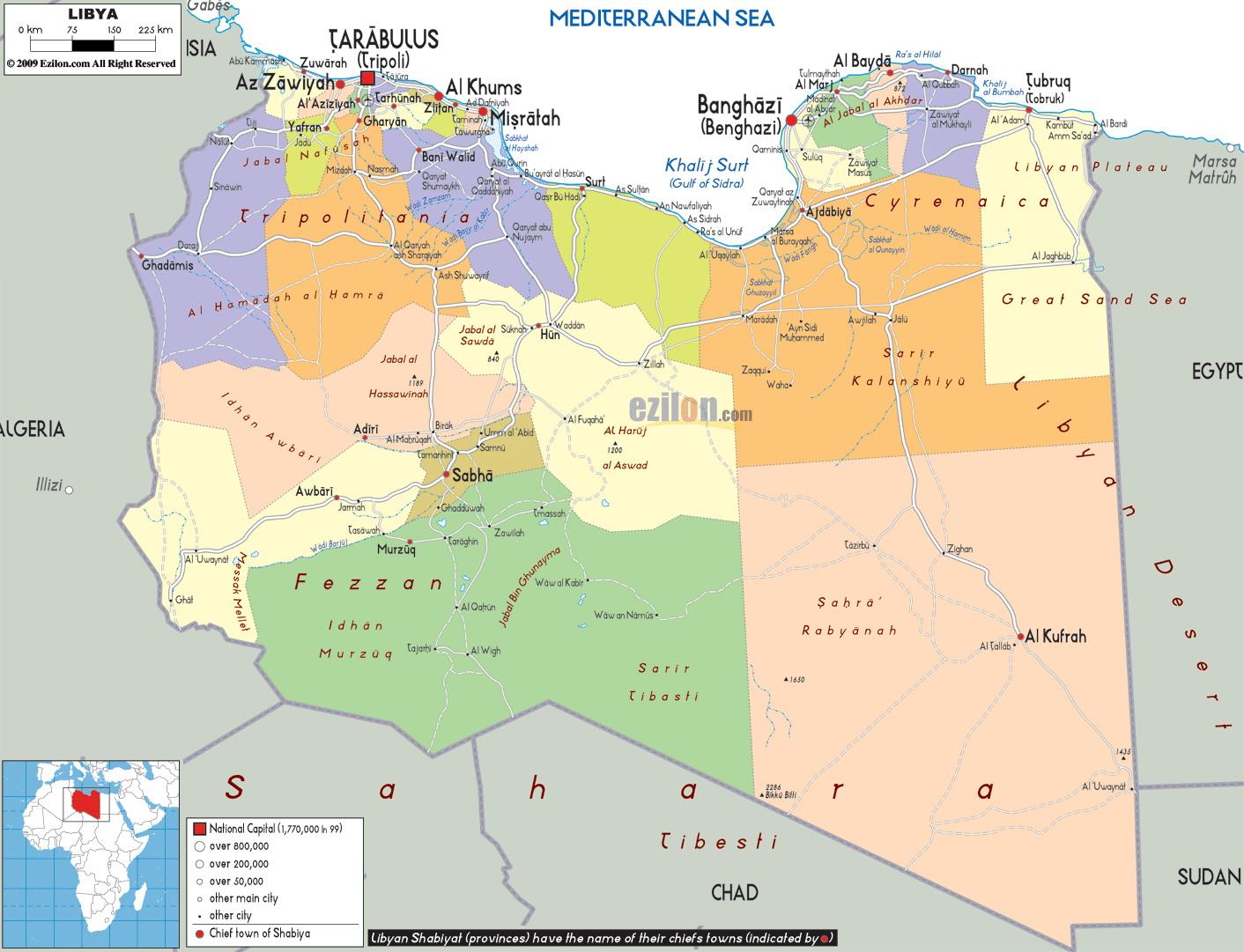 แผนที่ประเทศลิเบีย  Libya Map
