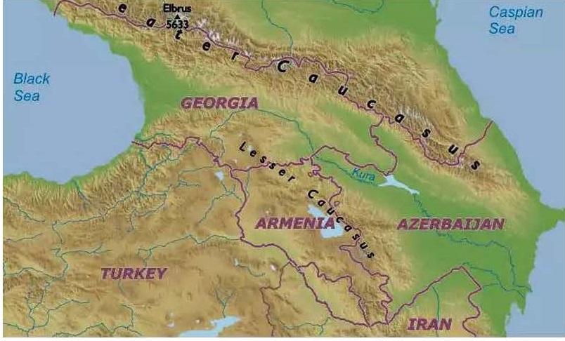 Map Arzerbaijan Armenia Georgia