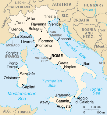 แผนที่ ประเทศ อิตาลี