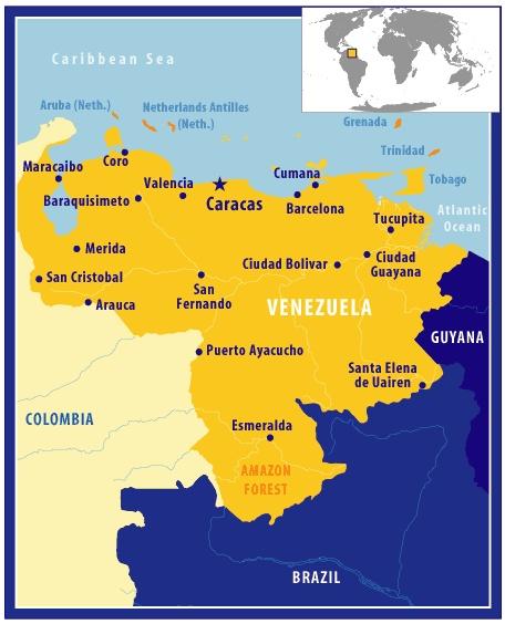แผนที่ประเทศเวเนซูเอล่า Map of Venezuela