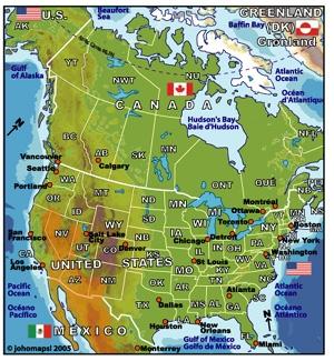 แผนที่อเมริกาเหนือ และ แคนาดา