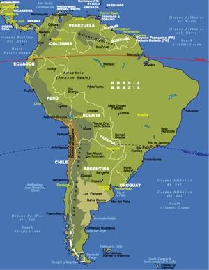 แผนที่อเมริกาใต้