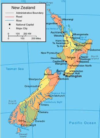 แผนที่นิวซีแลนด์