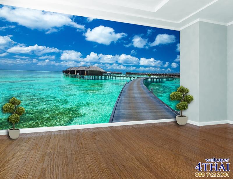 ภาพติดผนังภาพบังกาโล หมู่เกาะมัลดีฟส์