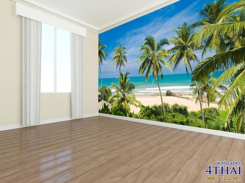 ภาพติดผนังภาพชายหาดและต้นมะพร้าว