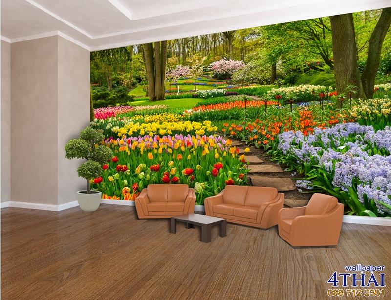 ภาพติดผนังภาพสวนดอกไม้