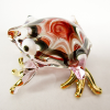 Hand Blown Glass Red-Pink Frog Gilt 1