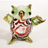 Hand Blown Glass Red-Green Owl Gilt 1
