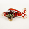 Hand Blown Glass Red-Green Carp (Koi) Fish Gilt #3-1