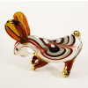 Hand Blown Glass Red-Green Rabbit Gilt 1