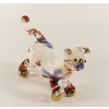 Hand Blown Glass Blue-Red Cat Gilt #3-1