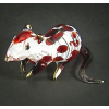 Hand Blown Glass Red Mouse Gilt #2-1