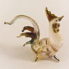 Hand Blowm Glass White-Yellow Rooster Chicken Gilt 1
