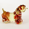 Hand Blown Glass Red Poodle Dog Gilt 1