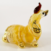Hand Blown Glass Yellow Chisu Dog Gilt #2-1