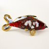 Hand Blown Glass Red-Blue Carp (Koi) Fish Gilt #2-1