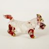 Hand Blown Glass White-Red Schnauzer Dog Gilt 1