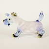 Hand Blown Glass Pink-Blue Schnauzer Dog Gilt 1