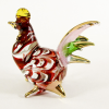 Hand Blown Glass Red-Green-Pink Hen Gilt 1