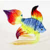Hand Blown Glass Blue-Yellow-Orange-Red Fish 1