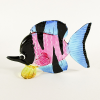 Hand Blown Glass Pink-Blue-Black-Yellow Fish 1