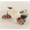 Hand Blown Glass White Bulldog Gilt #3-1