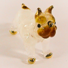 Hand Blown Glass White Bulldog Gilt #4-1