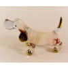 Hand Blown Glass White Blue Dachshund Gilt 1