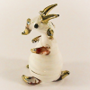 Hand Blown Glass White-Red Goat Gilt 1