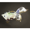 Hand Blown Glass Red-Blue Fish Gilt #5-1