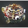 Hand Blown Glass Red-Yellow Puffer Fish Gilt 1