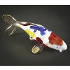 Hand Blown Glass Red-Blue-Yellow Carp (Koi) Fish Gilt 1