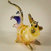 Hand Blown Glass White Rooster Chicken Gilt 1