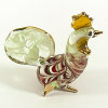 Hand Blown Glass Red-Green Hen Chicken Gilt 1