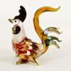 Hand Blown Glass Red-Yellow-Blue Rooster Gilt 1