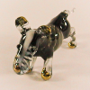 Hand Blown Glass Black Bull Terrier Dog Gilt 1